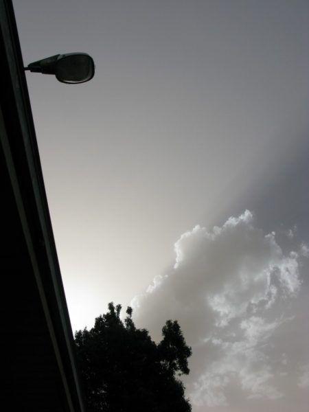 Gray sky full of smoke