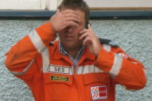 A frustrated emergency worker during the victorian bush fires