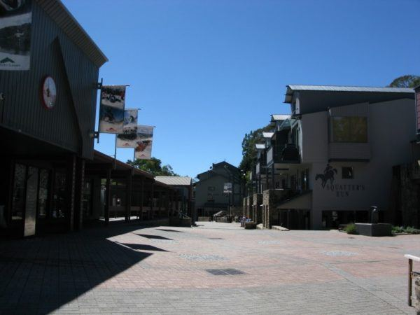 Empty streets of Thredbo in the Snowy Mountains at the base of Mount Kosciuszko