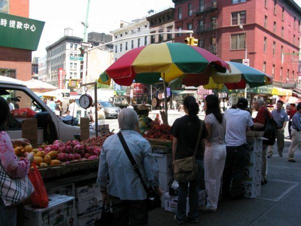 Outdoor fruit stall in Chinatown in New York City