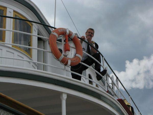 Steamship Segwun and its captain