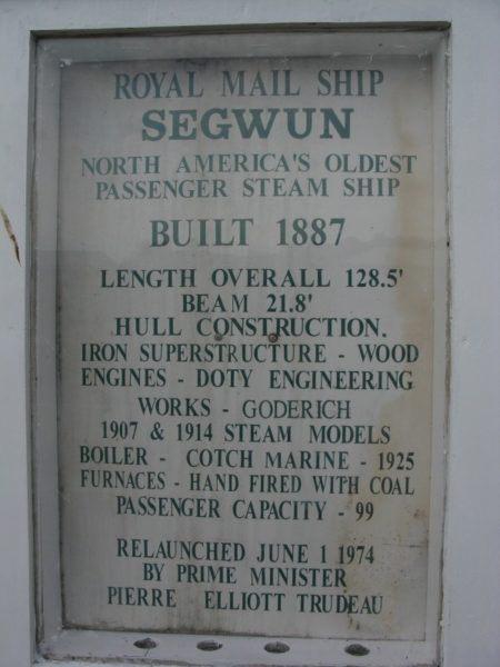Royal Mail Ship Segwun info