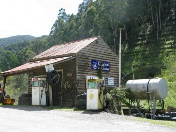 Ancient looking (but still operational) gas station at Woods Point