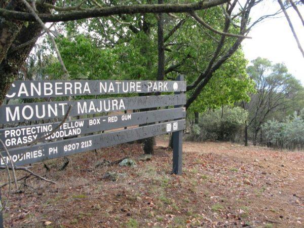 Sign for Canberra Nature Park, Mount Majura