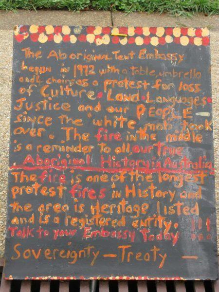 Australian Aboriginal Tent Embassy info sign