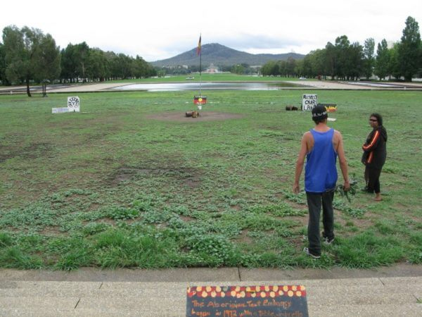 Visiting the Australian Aboriginal Tent Embassy in Canberra with our guide Sheralee