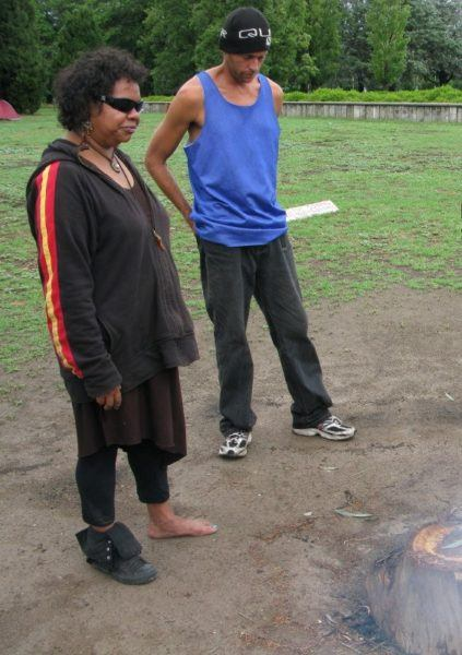 Sheralee, an Australian Aboriginal woman, teaching us about the tent embassy and the world's longest protest