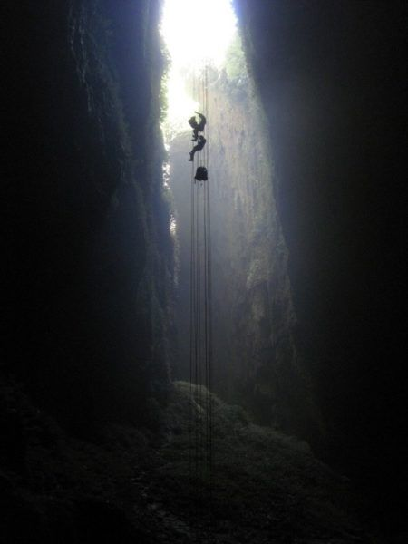 The Professional Hobo abseiling in New Zealand