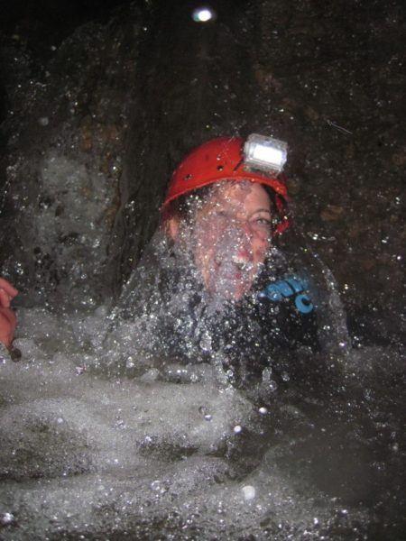 swimming through a Waitomo cave