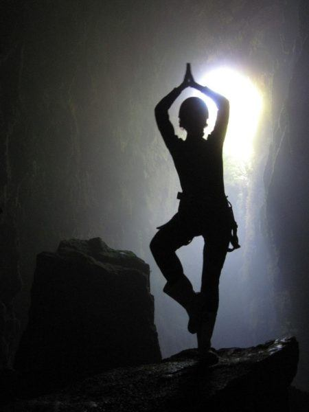 posing in the cave