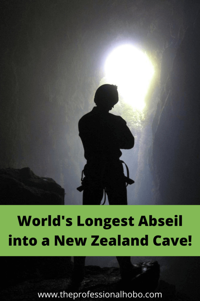 This record-breaking abseil into a dark wet cave in Waitomo New Zealand was one of the best #travel adventures I've ever had! #Waitomo #cave #abseil #NewZealand #TheProfessionalHobo