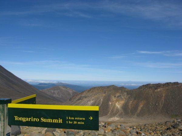 Signpost for the Tongariro Summit
