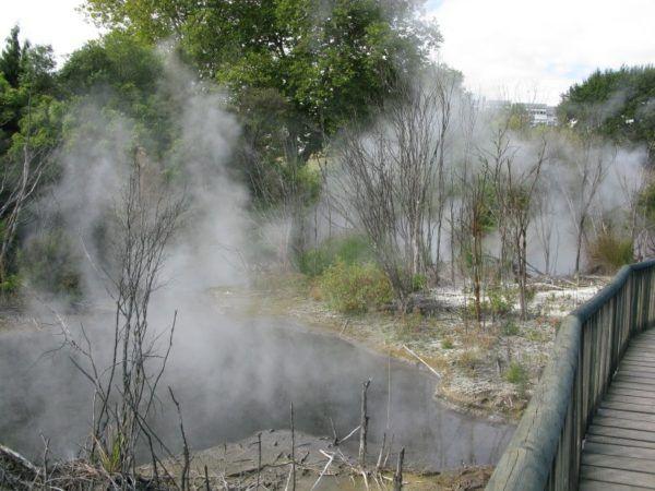 steaming pits in Kiurau park in Rotorua New Zealand