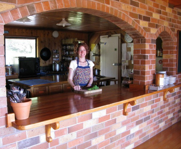 Nora Dunn in the kitchen doing work exchange at Mana Retreat Centre
