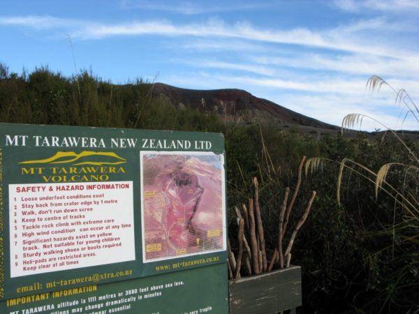 Mount Tarawera sign