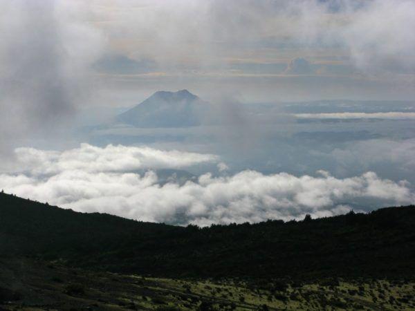 distant volcanoes in New Zealand