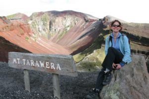 Nora Dunn, The Professional Hobo, at the crater rim of Mt Tarawera volcano in New Zealand