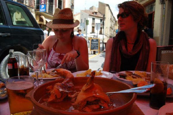 eating cochinilla in Segovia Spain