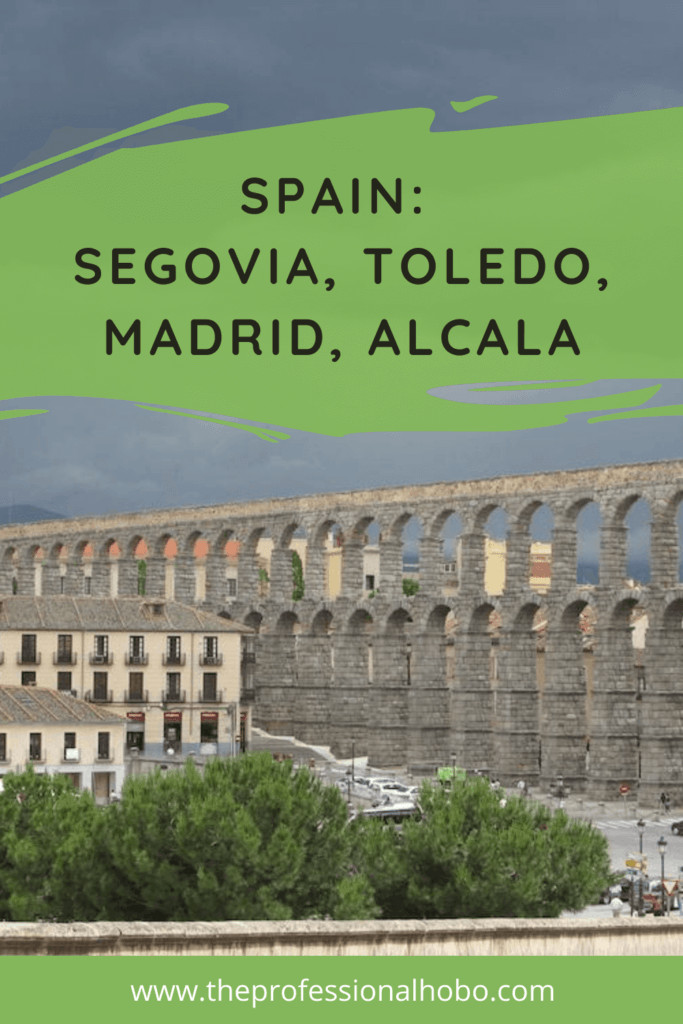 My original adventures in Spain took me around Madrid and Alcala, and on day trips to Segovia and Toledo. Learn more here. #Spain #EuropeTravel #Segovia #Toledo #Madrid #Alcala #TheProfessionalHobo