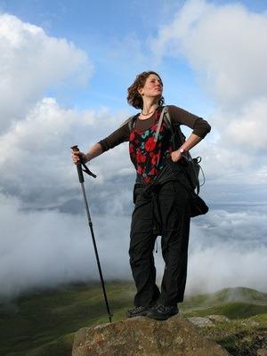 Nora Dunn on a Scottish highland summit