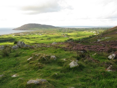 idyllic Ireland with green moors, near Mamore Gap