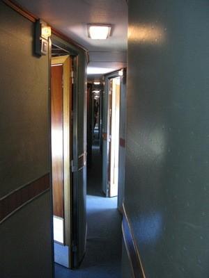 the Ghan train's winding corridors