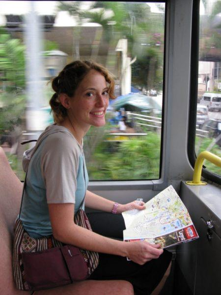 The Professional Hobo, Navigating the bus in Singapore; you can't see the travel fatigue, but it's there.