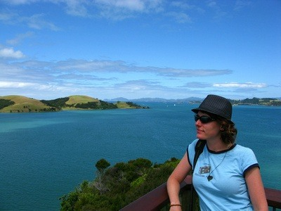 Nora Dunn, aka The Professional Hobo, in New Zealand looking at beautiful vistas.