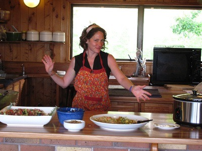 cooking at Mana Retreat center in New Zealand
