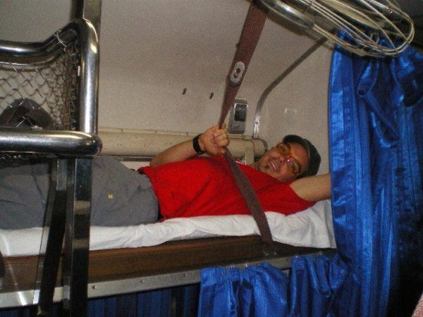 bed on a train in Thailand