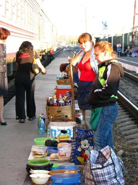 food stop at a Russian train station