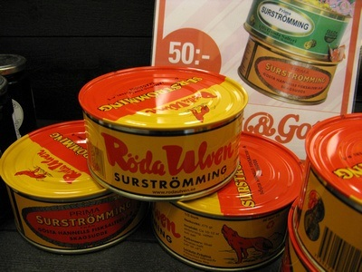 cans of Surstromming in Sweden