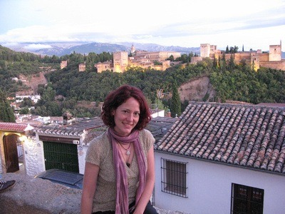 Nora Dunn, The Professional Hobo, in Granada Spain, with Al Hambra in the background