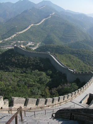 long view of the Great Wall of China