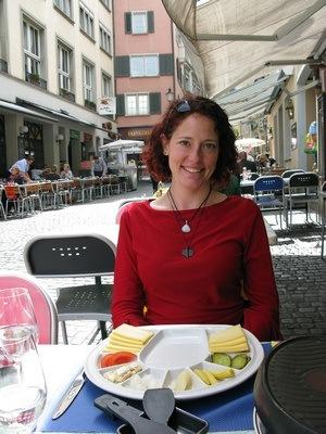 Nora Dunn in Zurich Switzerland eating raclette