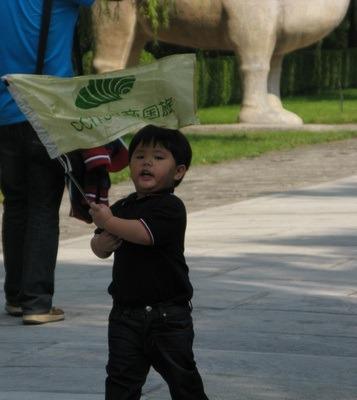 cute kid with flag