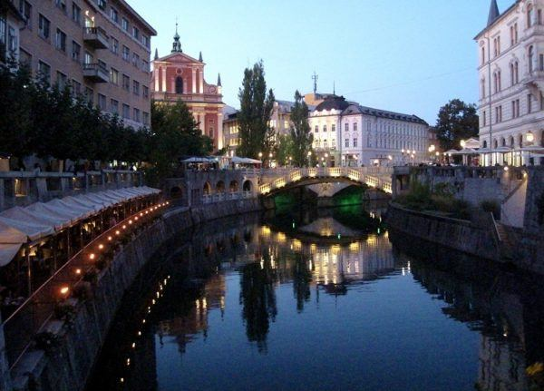 Ljubljana at sunset, photo taken by Inspiring Travellers