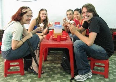 enjoying ice cream on our little stools