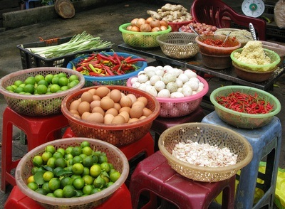fresh produce at the market; a part of Vietnam Food Culture