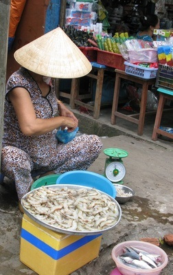 shrimp for sale at a Vietnamese market