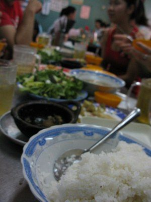Vietnamese dinner table full of food