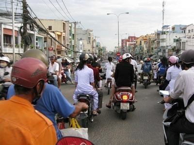 Saigon rush hour traffic