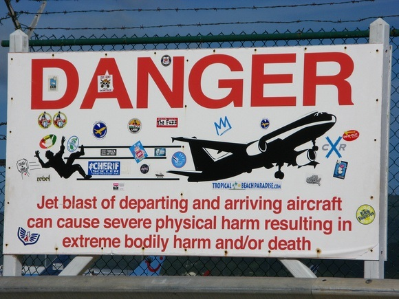 Danger sign at airport in St. Martin