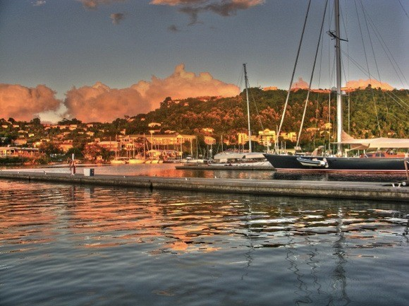 Grenada's harbour with sailboats moored