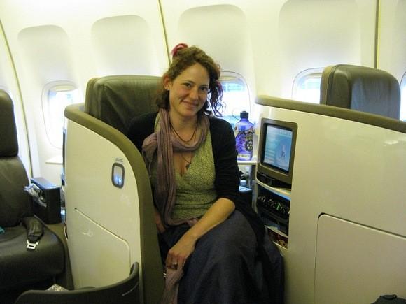 Nora Dunn enjoying a business class flight