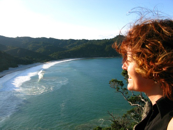 Nora Dunn of The Professional Hobo, overlooking a bay on the North Island of New Zealand
