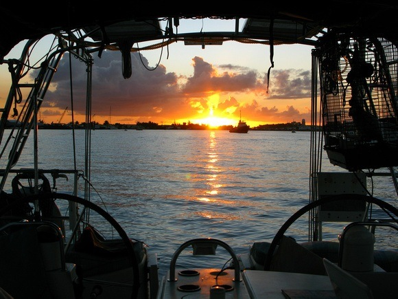 sunset from the cockpit of a sailboat