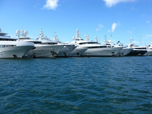 Mega-yachts, lined up in St Martin