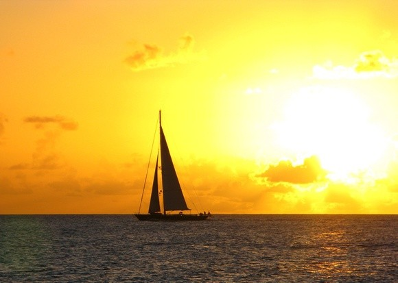 sunset on a sailboat in St Martin