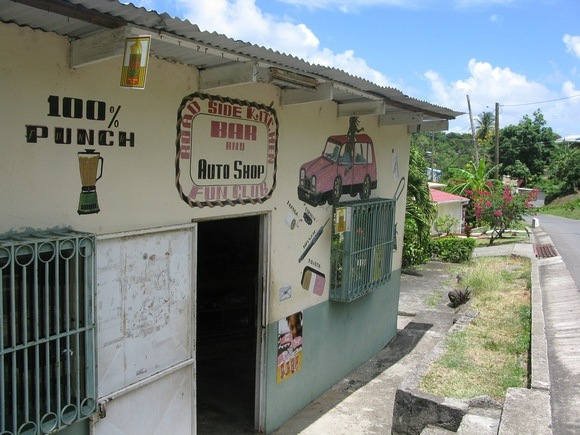 The first of many rum shops - yep, you read the sign right!